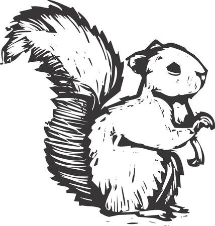 Una foresta scoiattolo fatto in legno in stile si siede e ascolta.