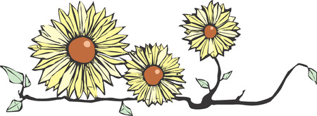 Three flowers on a stem in yellow and brown. Vector