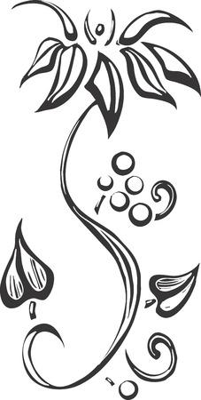evoking: A simplified design of a vine evoking Algonquin patterning.
