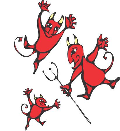 Three smiling devils with horns and pitchforks. Ilustração