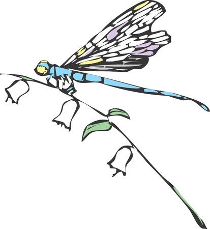 トンボや花の茎のイトトンボ。  イラスト・ベクター素材