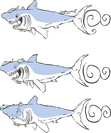 別の表現で 3 偉大な白いサメ。  イラスト・ベクター素材