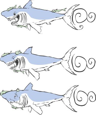 d�vorer: Trois grands requins blancs avec des expressions diff�rentes. Illustration