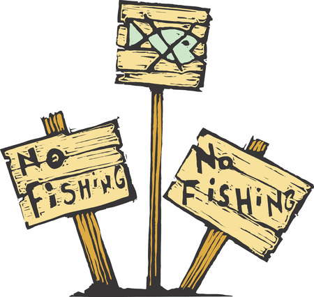 Three no fishing signs made of wood. Ilustração