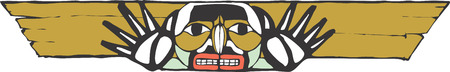 tlingit: A totem crossbeam in the style of Northwest Coast native cultures.