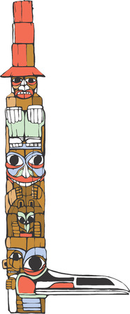 A totem pole in the style of Northwest Coast native cultures. Illustration