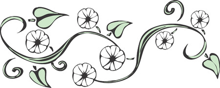 Una vite in luce verde con diversi fiori che potrebbe fare un buon tatuaggio. Archivio Fotografico - 4689609
