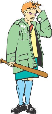 Mod girl with a baseball bat looks embarrassed. 向量圖像