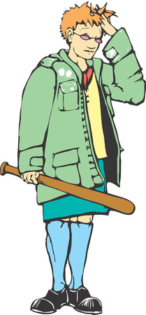 Mod girl with a baseball bat looks embarrassed. Vector