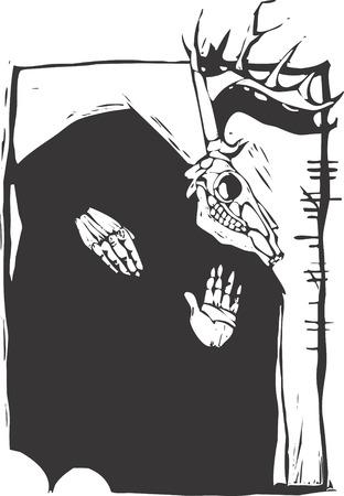 pagan: Deer Pagan image cr�ne gravure sur bois avec l'�criture Ogham irlandais sur le c�t�.