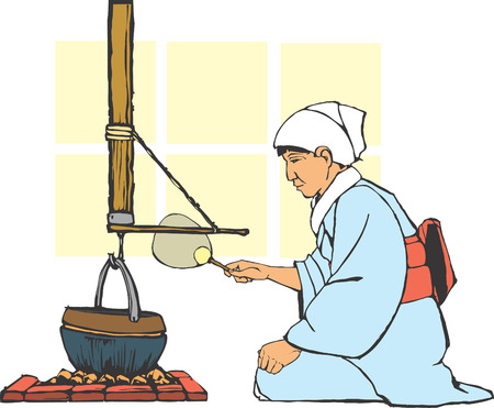 thatched: Traditional japanese farm hearth being tended by a woman in culturally correct costume.