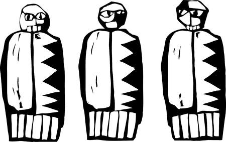 Drie poppen in de stijl van de Native pictogrammen.