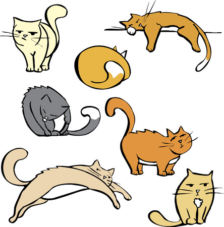 calico cat: Cartoon image sheet of various cats in different poses.