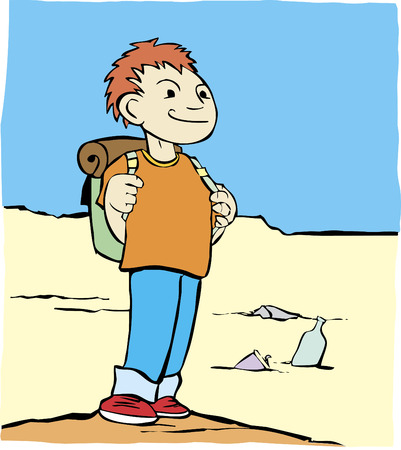 walking trail: Cartoon image of a boy with a backpack in a sandy desert.