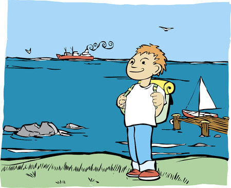 Boy with backpack on the shore of the ocean. Ilustração