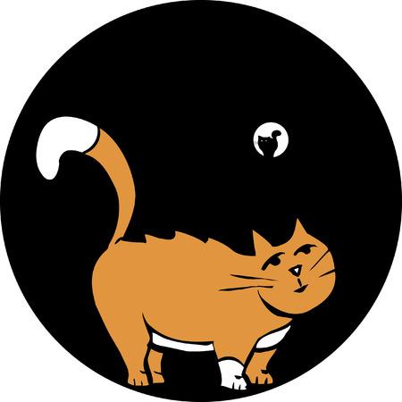 Grasa de gato en gato con otro tubo en el extremo más alejado. Foto de archivo - 4874634
