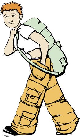 貨物のズボンの少女は、アーミー グリーンのダッフル バッグを運ぶ。  イラスト・ベクター素材