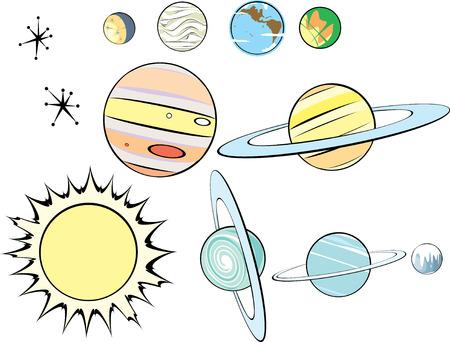 neptun: Sterne, Pflanzen und Sun in Retro Style angeordnet werden, wie Sie m�chten. Illustration