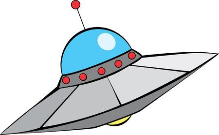 ro Alien Flying Saucer met midden-eeuwse moderne stijl. Stock Illustratie