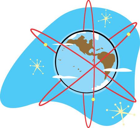 レトロな電子のための衛星を持つ放射性地球。  イラスト・ベクター素材