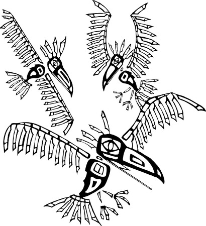 the totem pole: Three Ravens depicted in the style of Northwest Coast Native cultures.