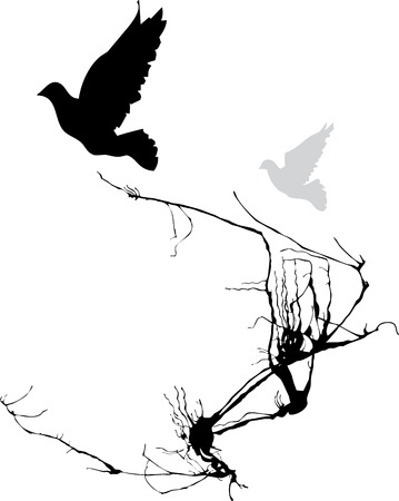 Two birds take wing from the branches of a tree. Stock Vector - 4933909