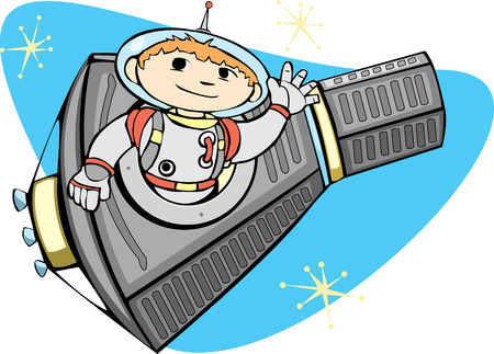 Retro Mercury Space Capsule with a boy in a spacesuit. Vector