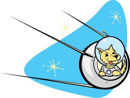 Retro Russian Satellite a space dog. Vector