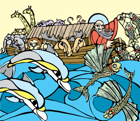 deluge: Noah fishes of the side of his Ark while dolphins play.