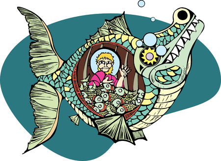 Jonah in the belly of the whale with a bunch of fish. Illustration