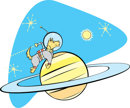 Retro Space Dog flies by planet Saturn.  Vector