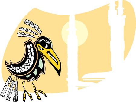 d�vorer: Raven est assis pr�s des totems rendus dans Northwest Coast Native Style. Illustration