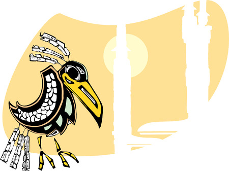 folktale: Raven se sienta en t�tems prestados en el noroeste de Costa de estilo nativo. Vectores