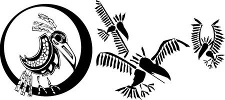 folktale: Raven prestados y su clan en la Costa Noroeste de estilo nativo. Vectores