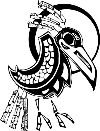 the totem pole:  Raven rendered in Northwest Coast Native Style.