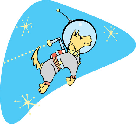 Retro Space Dog with a jet pack. Vector