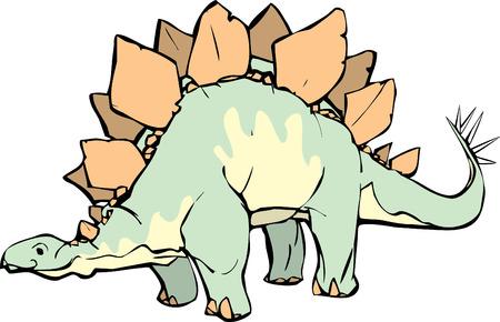 楽しい表情と黄色のパターン形成とステゴサウルス