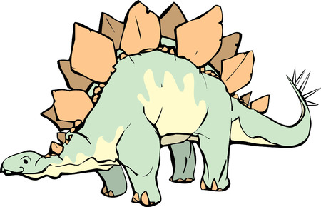 beenderige: Stegosaurus met een aangename meningsuiting en gele patronen.