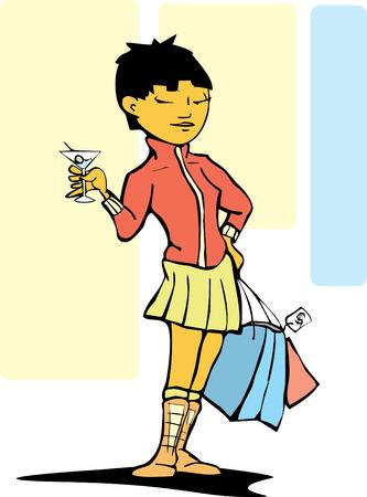 ショッピング バッグやマティーニのスタイリッシュな女性。  イラスト・ベクター素材