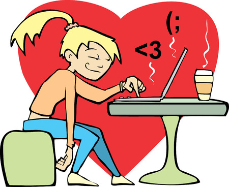 A woman in a coffee shop flirts with an online lover.