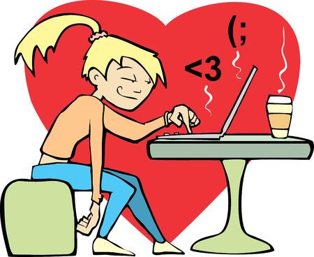 Una mujer en una cafetería coquetea con una línea amante. Foto de archivo - 4981414