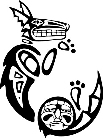 the totem pole: Curled Mythical Coyote rendered in Northwest Coast Native style. Illustration