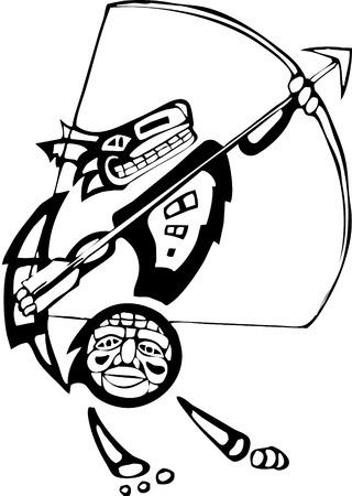 d�vorer: Coyote mythique avec un arc et une fl�che rendue en style autochtone de la c�te du Nord-Ouest.