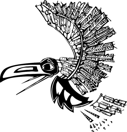 trickster: Mythical flying Raven rendered in Northwest Coast Native style.