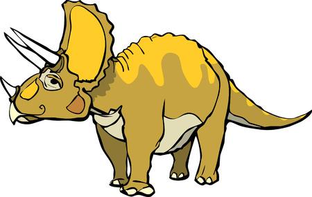beenderige: Triceratops met een aangename meningsuiting en oranje patronen.