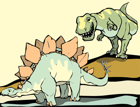 Smiling Tyrannosaurus Rex hunts the Stegosaurus. Vector