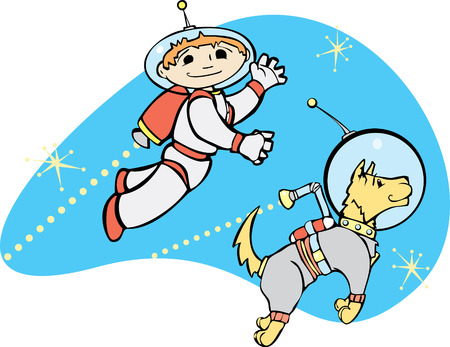 Retro boy in jet pack flies through space with his dog. Vector