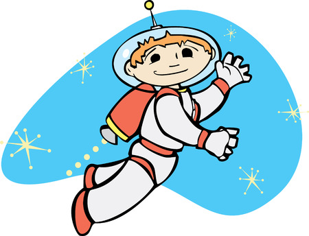Retro boy in a jet pack flies through space.