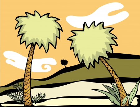 Palm trees in a desert oasis. Vector