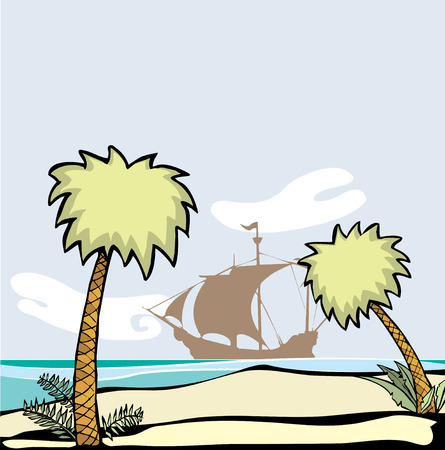 Pirate ship at anchor off the shore of a deserted island with palm trees. Vector